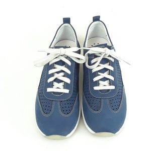 Mephisto Shoes - Mephisto Runoff Women's Blue Leather Sneaker